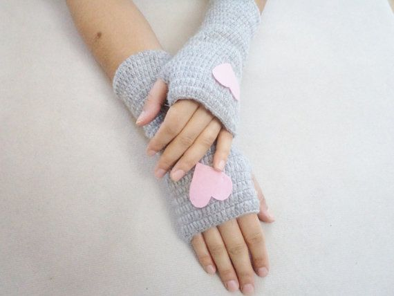 Gloves Mittens Crochet Gloves Wool Grey Gloves by BloomedFlower