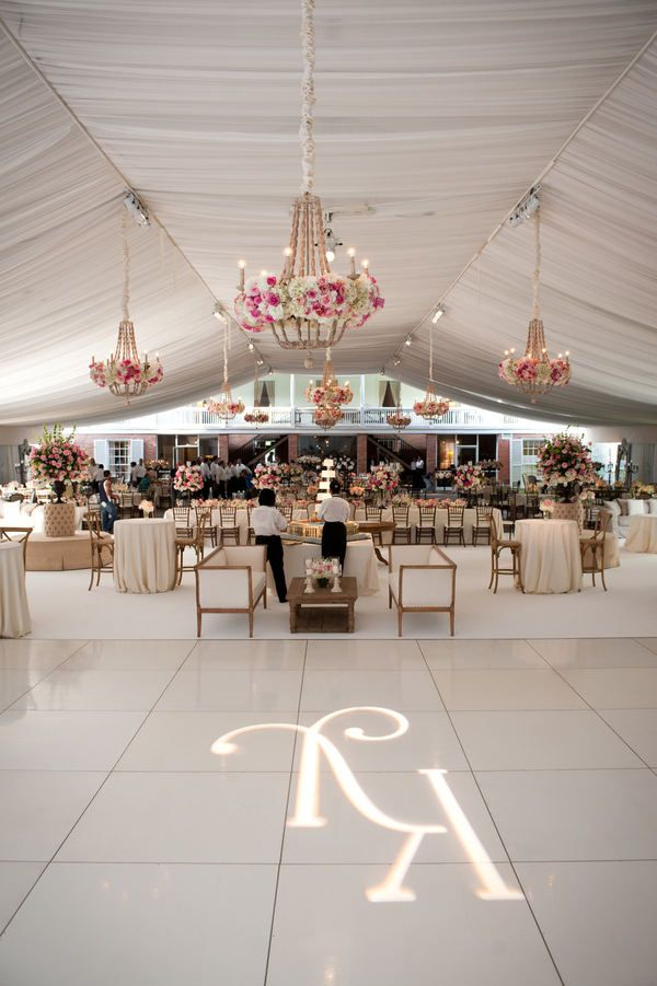 Tent chandeliers accented with flowers