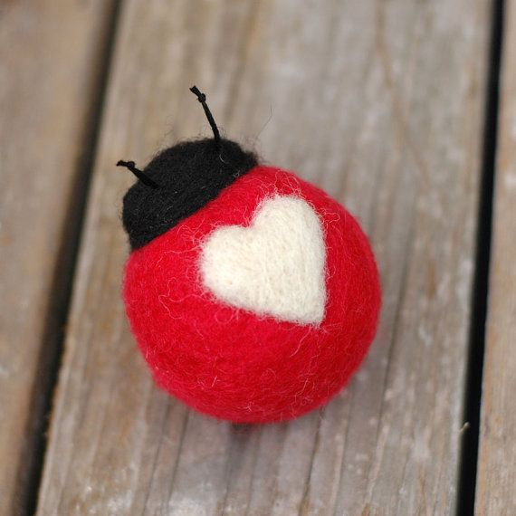 LoveBug in Red and White Needle Felted