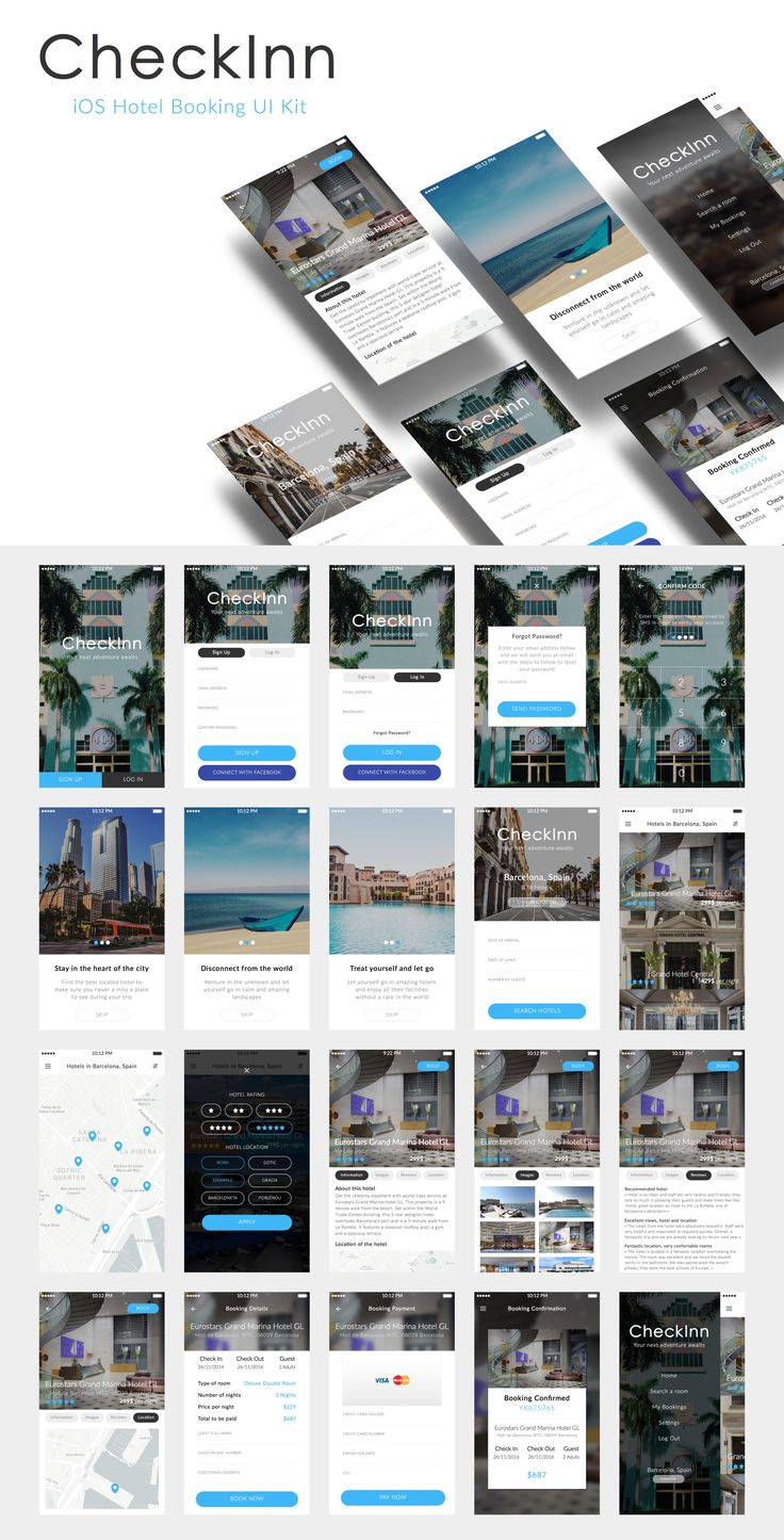 CheckInn is a premium and ready-to-use UI Kit designed for your next hotel booking iOS project. It features 20 unique screens following the complete workflow of a user in a hotel booking app. Designed with and for Sketch, each element is carefully layered and organised to jumpstart your development process! Please note screen graphics are for presentation purpose only.
