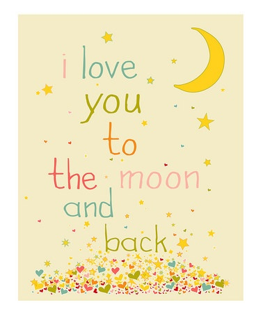i love you to the moon and back...cute kids room print...