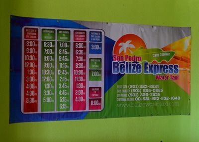The Belize Express runs from Belize City to Caye Caulker, San Pedro, even a couple destinations in Mexico! #belize #sign #colors #colorful #travel #wanderlust #travelphotography #centralamerica #belizeexpress #watertaxi #schedule #sanpedro #cozumel #mexico