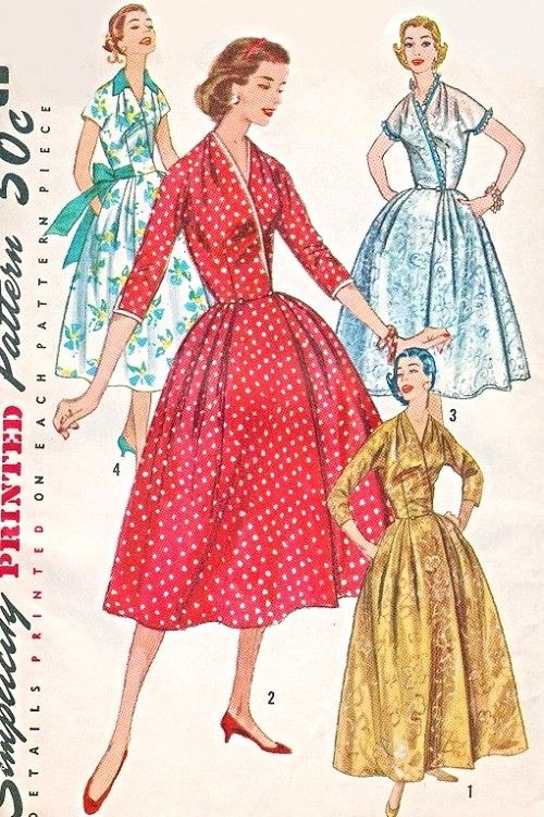 1950s Glamorous Housecoat Robe Pattern Simplicity 1819 Lounging Robe Hostess Gown Surplice Bodice Full Skirt 4 Style Versions Bust 44 Vintage Sewing Pattern