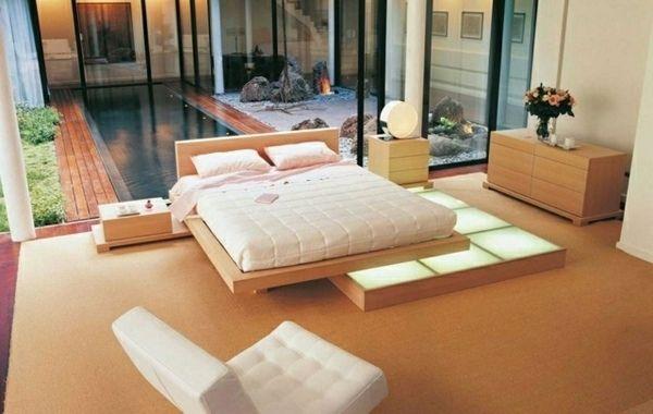 Modern Minimalist Bedroom Neutral Colors Floor Lights Japanese Style Bedroom Platform Bed Designs Modern Bedroom Design