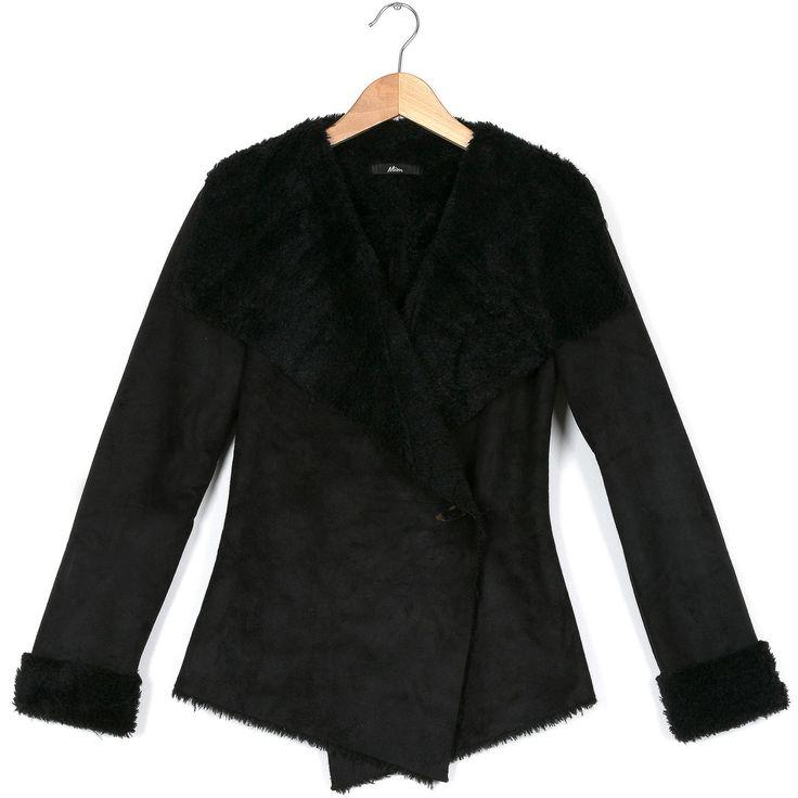 manteau effet peau retourn e noir mim manteau fourruresynth tique fourrure pinterest. Black Bedroom Furniture Sets. Home Design Ideas