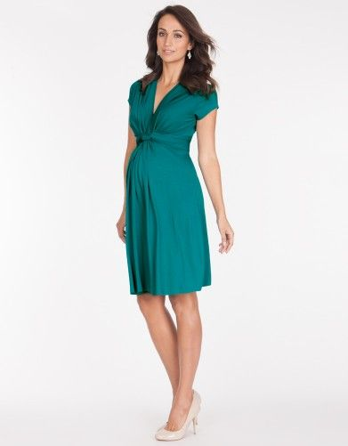 Green Knot Front Maternity Dress | Seraphine Maternity; $79