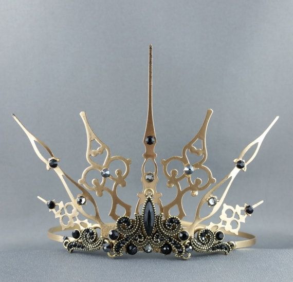 Baroque Gothique  Gold Tiara Gold Crown Black Crown by angelyques