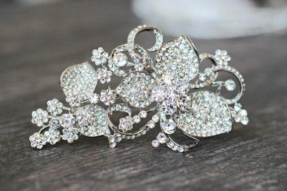 Large Swarovski Bridal Brooch, Crystal Wedding Brooch, Rhinestone Brooch, Wedding Dress Embellishment, Diamante Brooch