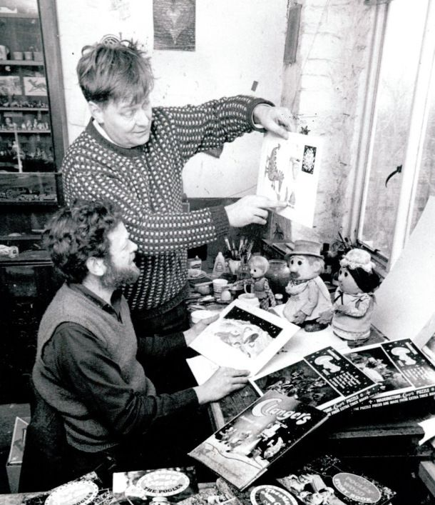 Oliver Postgate and Peter Firmin in studio with the clangers and noggin the nog