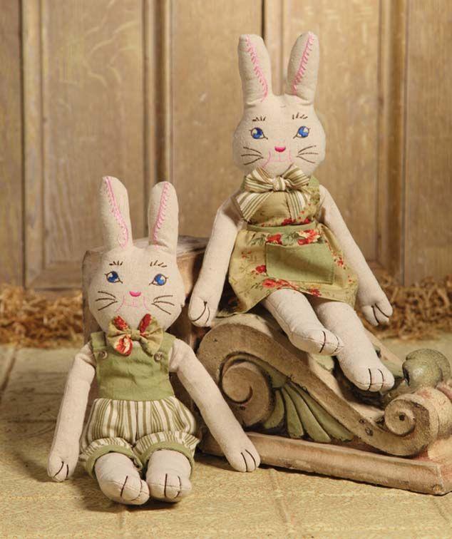 Rag Doll Bunny Girl & Boy   Bethany Lowe Easter Bunnies.