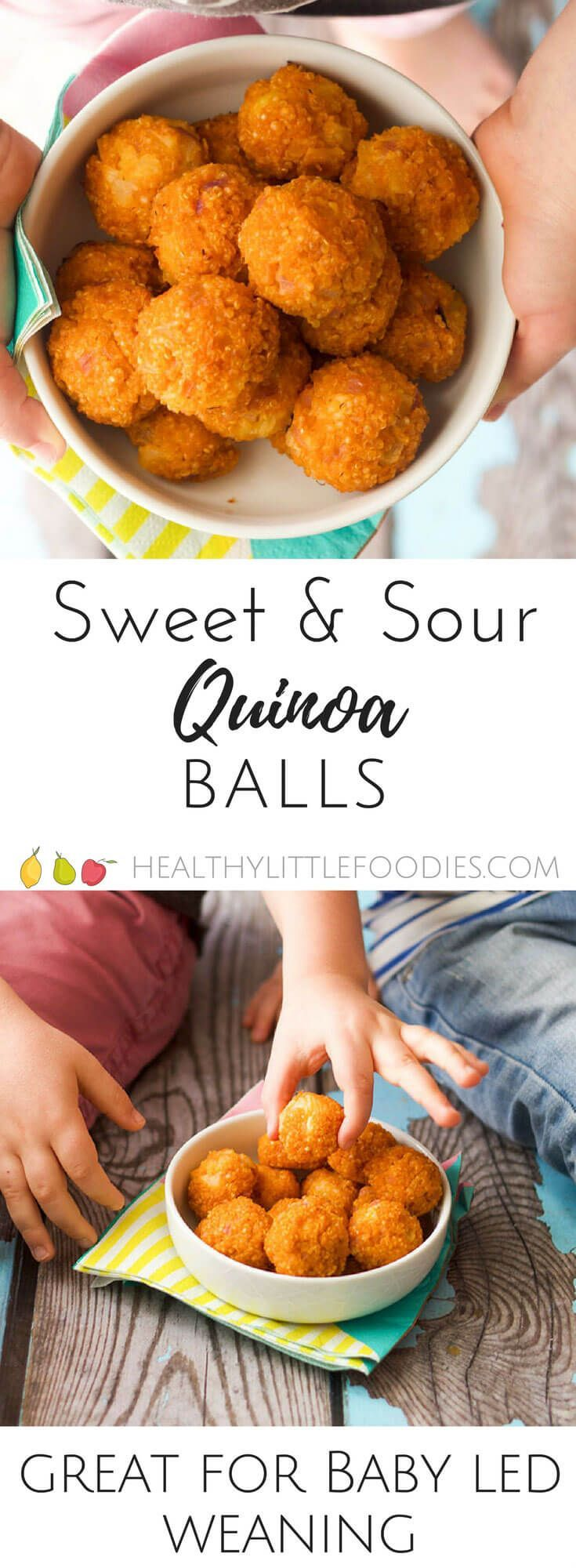 sweet and sour quinoa balls. Perfect for a lunch box, finger food or as mart of a main meal. Great for kids and for baby-led weaning (blw) via @hlittlefoodies