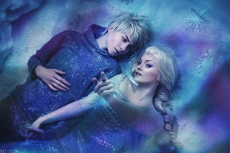 Elsa and Jack Frost by LilSophie on deviantART