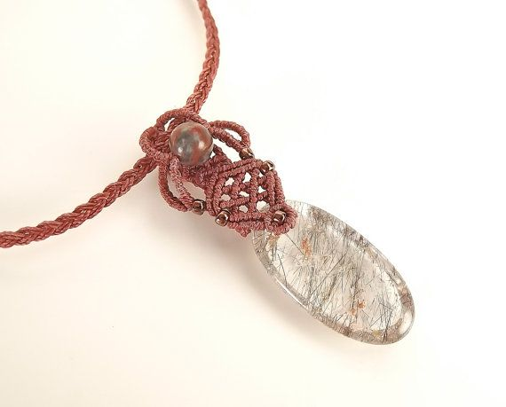 Macrame Necklace, Black Tourmalinated Quartz Pendant, Macrame Pendant With Red Brown Thread