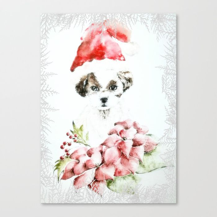 A Shih Tzu Christmas Canvas Print
