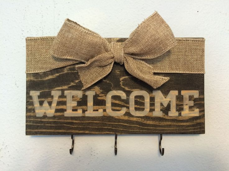 """Rustic """"Welcome Sign"""" Keys Holder 10""""X6"""" Carved into Ucycled Pallet Wood Hand Painted / Stained with Burlap Ribbon by RummWoodWorx on Etsy"""