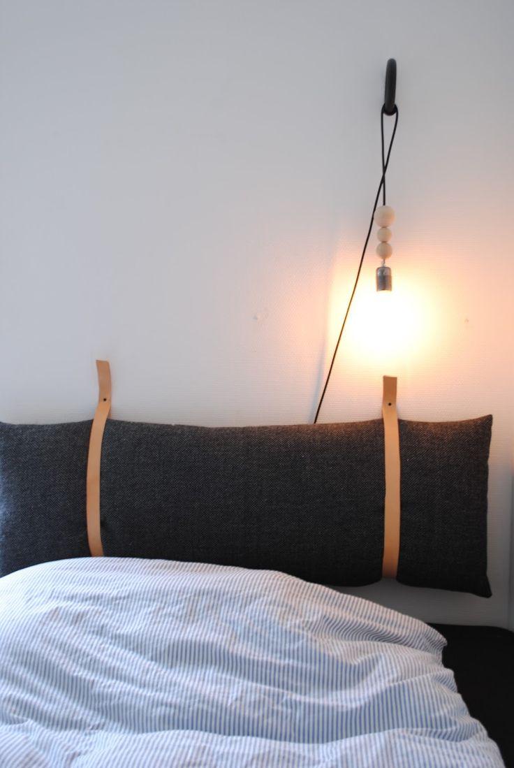 DIY Tête de lit - Un traversin, du tissu et deux lanières de cuir. Et voilà - Julies kreahule: DIY sengegavl