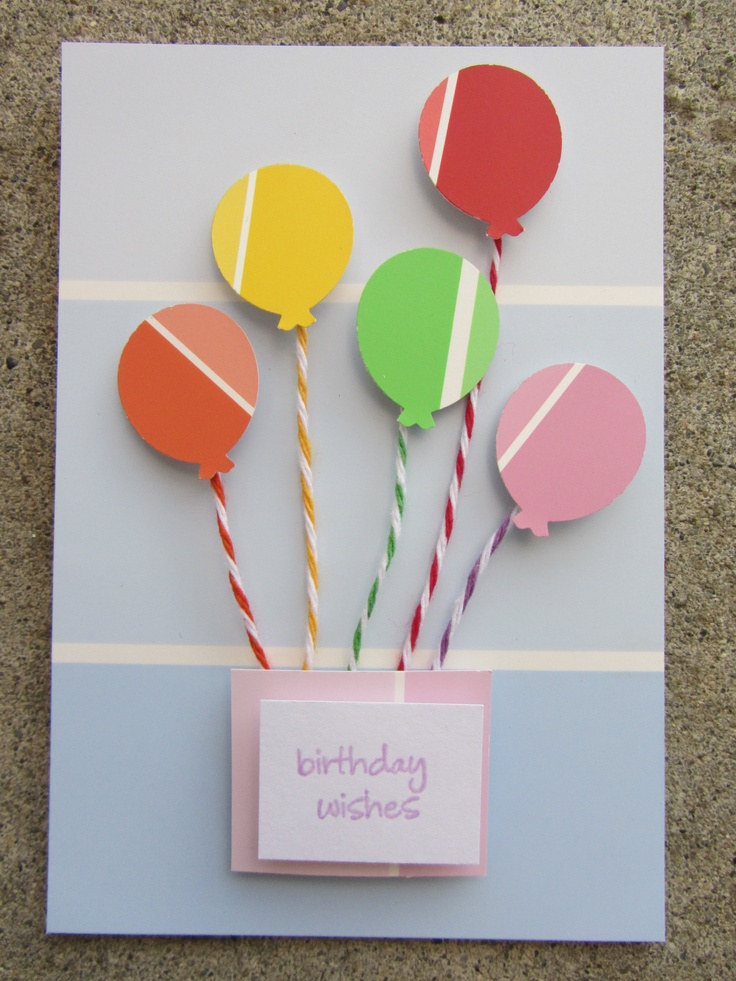 paint chip card, balloon punch, twine by Nancy Domnauer More