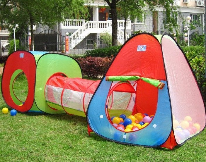 Childrens, Kids Pop Up Play Tent and Tunnel Set *** with 100 Ball Pit Balls ***