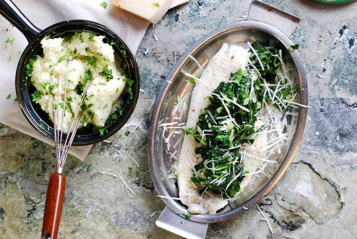 Kolja med fräst spenat och potatismos