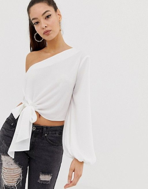 73cd2128c9f ASOS DESIGN long sleeve one shoulder top with knot tie front | ASOS