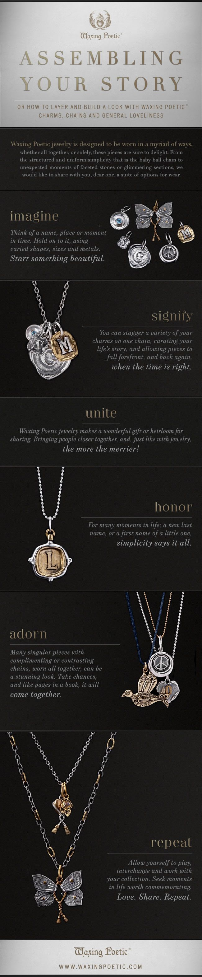 Waxing Poetic INSTRUCTOGRAPHIC. Take a look, pass it on. XO #waxingpoeticjewelry #love Available at the Wild Goose