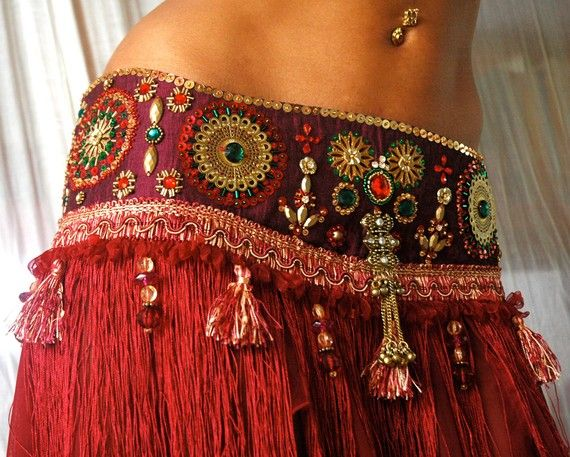 Perfectly Beautiful Belly Dance belt beaded sequined in maroon gold green and red - This would go great over a pair of jeans or a pair of solid color leggings.