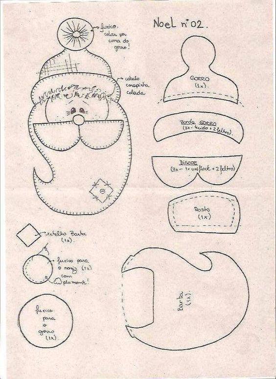 Dicas de Moldes Papai Noel para Imprimir