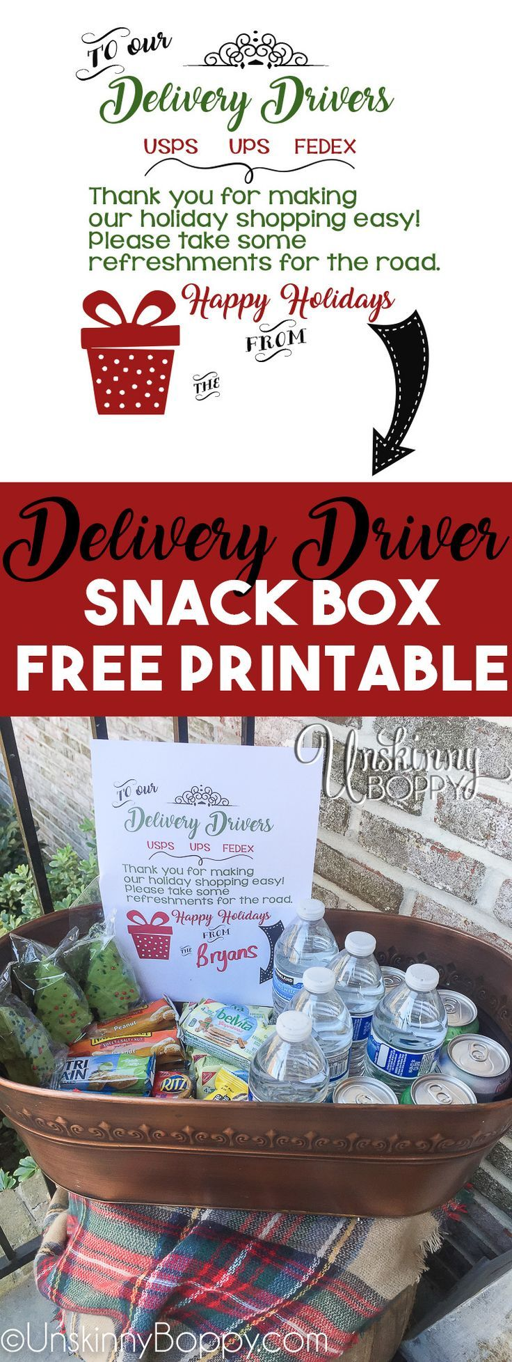 Put a bucket of snacks on your porch for UPS, FedEx and USPS during the holidays. Free Printable sign! #deliveringthanks #ups #fedex #happyholidays #givingback #payitforward #holidaycheer #happyholidays #freeprintable #merrychristmas Delivery Driver Porch Snacks {Free Printable} - Unskinny Boppy