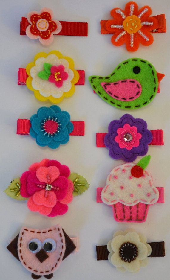 10 Pc Children's Felt Hair Clip Set & Holder by Funnygirldesigns, $45.00