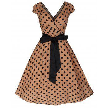 'Mary Ellen' Brown Polka Dot Swing Jive Dress worn 2x by me size 5x best for a 20