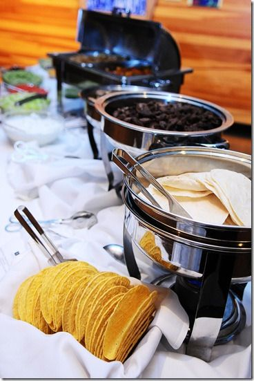 Mexican theme for the reception.. Love the DIY taco buffet station. This is what we imagine for food at the reception.   #CupcakeDreamWedding