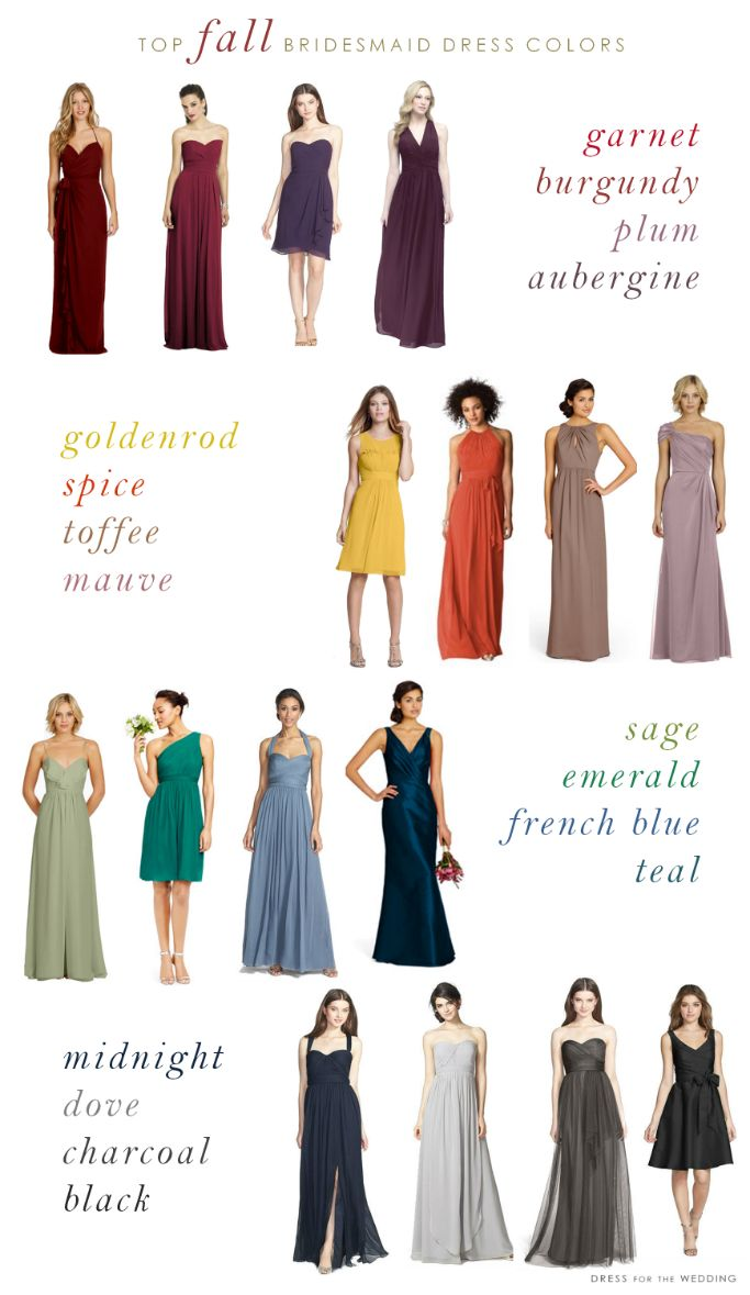 Fall wedding ideas: Top Colors for Fall Bridesmaid Dresses