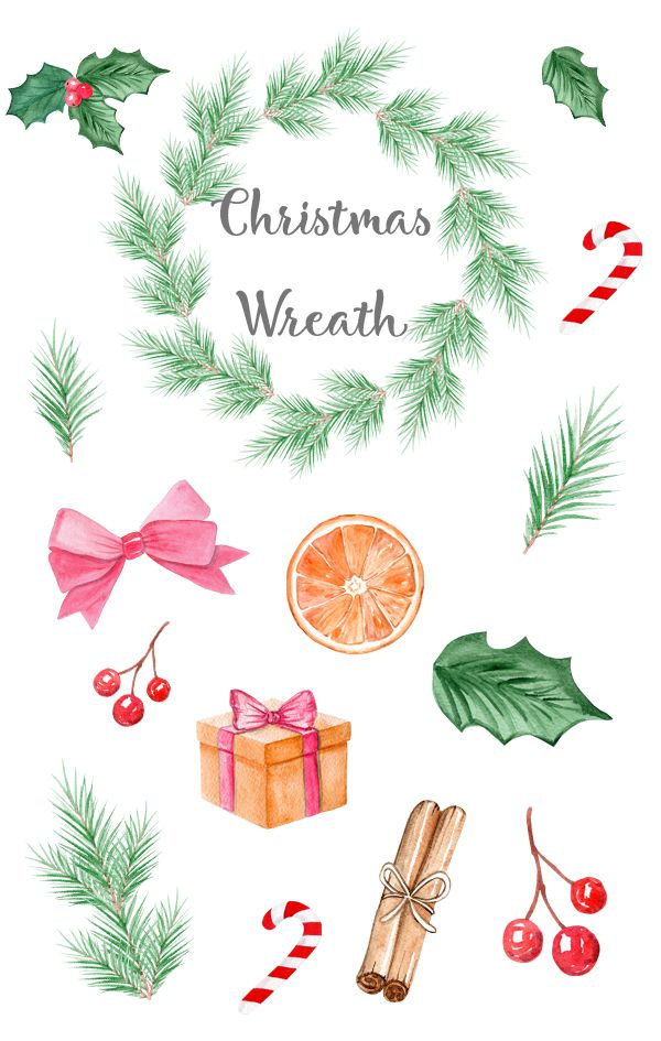 Christmas Wreath 2020 Clipart Christmas wreath watercolor clipart holiday graphics for card