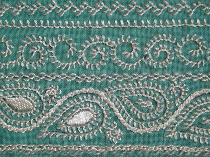 Dorset Feather Stitchery 'Trial And Error' Sampler. Example found in copy of 'Dorset Feather Stitchery' by Olivia Pass.
