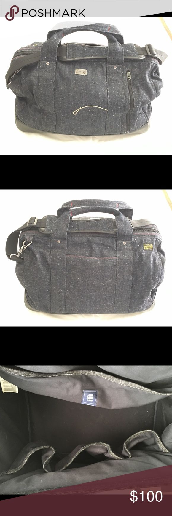 G-star Denim weekender bag Versatile weekend bag. Organic raw denim. Shoulder strap included. Opens like old school dr.'s bag. Great condition! G-Star Bags Luggage & Travel Bags