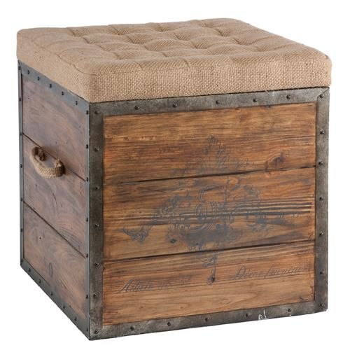 This old wood crate look has a tufted burlap removable top and woven handle. The crate is lined in rustic distressed metal and nailed into place.