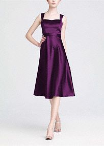 Vintage-inspired, this satin style combines modern sophistication with old hollywood glamour.  Wide strap tank bodice is supportive while sweetheart neckline is ultra feminine.   Tea-length skirt mixes flirty with flattering to create a timeless silhouette.  Lined Bodice. Back zip. Imported polyester. Dry clean only.  Available in our exclusive 42 color palette.  Get inspired by our colors.