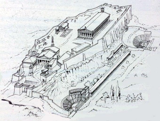 Ricostruzione dell'acropoli di Atene. L'acropoli di Atene è il luogo consacrato più celebre del mondo antico. La collina dell'Acropoli  e il Partenone, il suo tempio più grande, dominano la città di Atene e costituiscono il cuore dell'Attica e di tutta la Grecia. Il temnos divide il terreno sacro da quello profano.