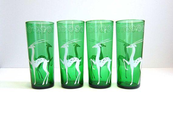 Vintage Gazelle Green Drinking Glasses - Emerald Green Glass Art Deco White Gazelle Swirls Tall Cocktail Glasses