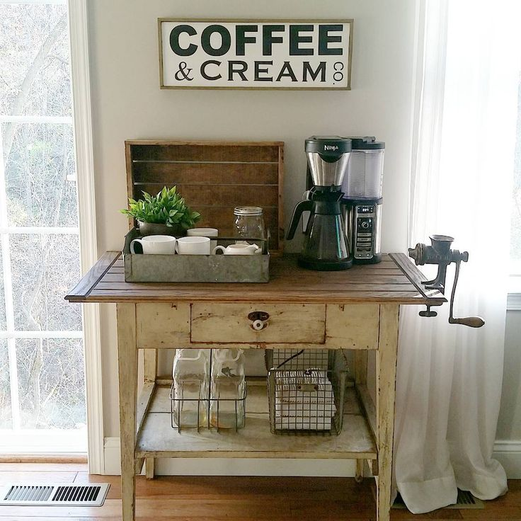 Farmhouse Coffee Bar. How stinking cute is this? Makes that coffee maker look so much cutter than sitting on the counter all lonely.