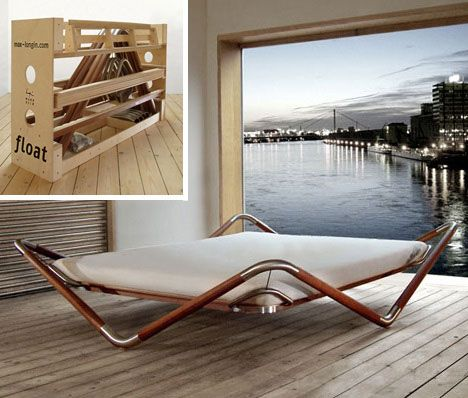 But other modern beds also aren't keen on being grounded either. Take the Bed Float - not only can it be fully dismantled in a jiffy (with part of the bed frame forming a carrying case), it is also designed to look as if it's touching the ground as little as possible.