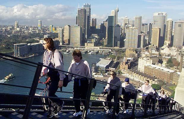 Sydney Harbor Bridge Climb; must be a magnificent view from the top of the bridge but this coward will never know.