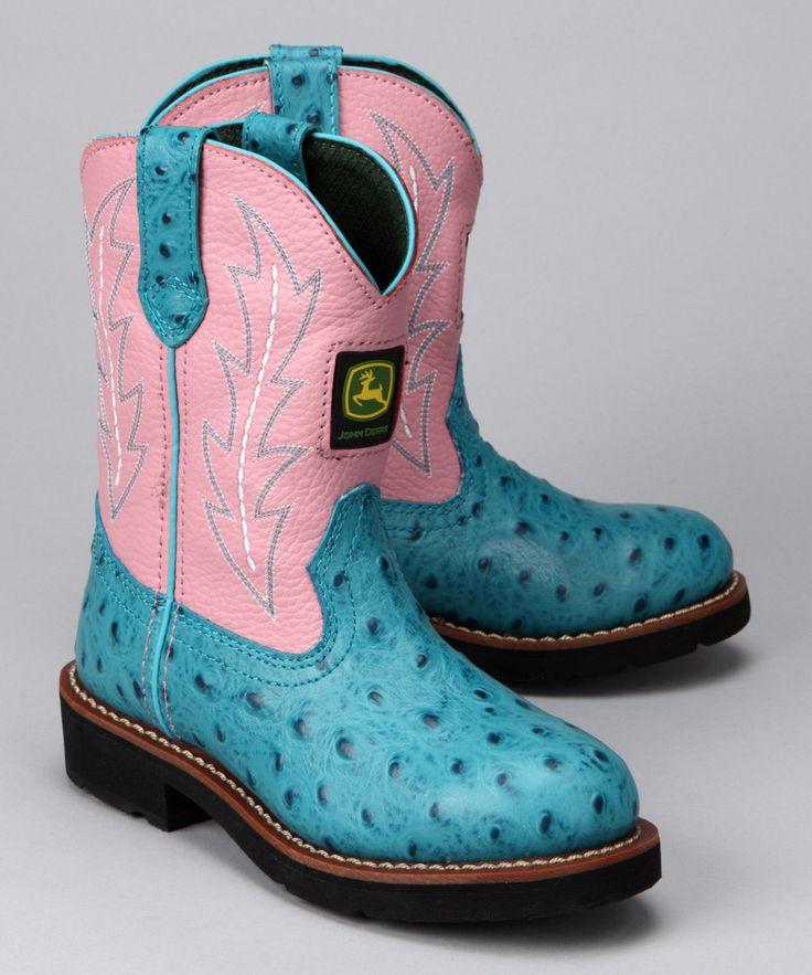 Big Kid Blue & Pink Ostrich Wellington Cowboy Boot from John Deere Kids