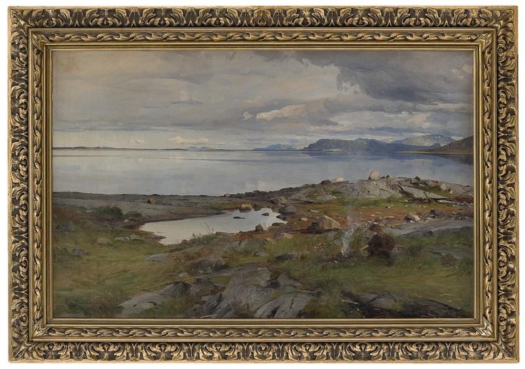 Even Ulving 1863-1952: Kystlandskap med pike ved bål