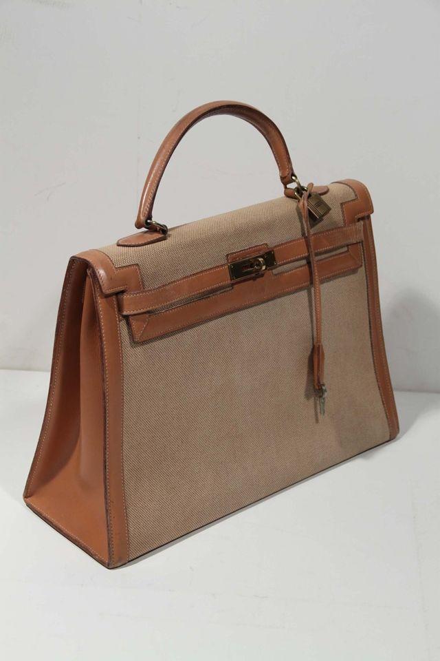 HERMES PARIS 70s Vintage Tan Canvas & Leather KELLY BAG Tote HANDBAG Purse