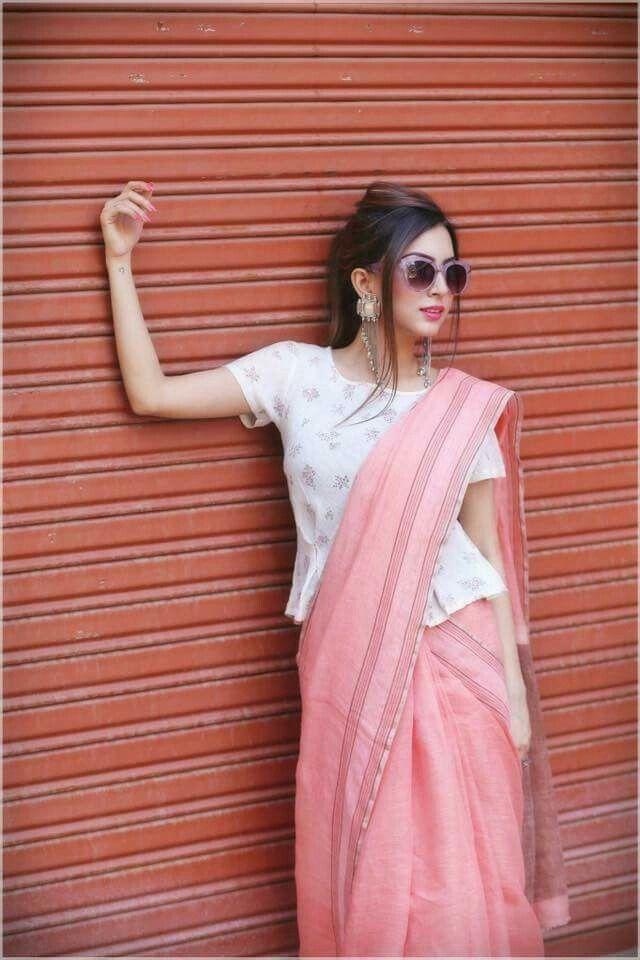 Daring Pink saree with black shade