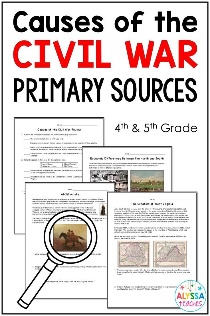 If You Teach 4th Or 5th Grade History This Set Of Causes Of The Civil War Worksheets Is For Social Studies Lesson Plans Virginia Studies Social Studies Lesson