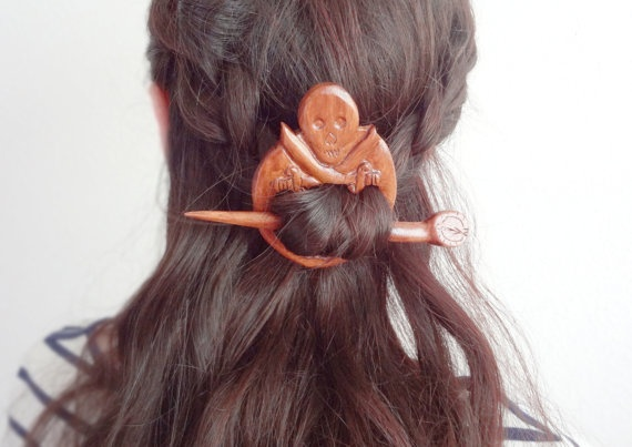 Skull gothic Pirate hair pin shawl pin by theancientmuse on Etsy