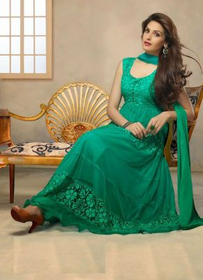 Latest Fashionable Net Green Anarkali Suit