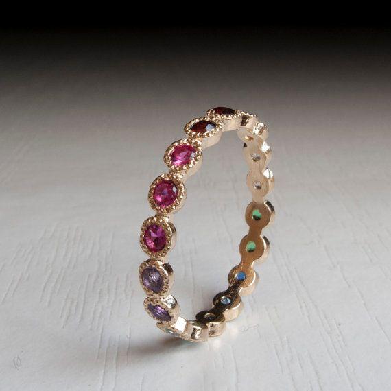 Gold Eternity ring - Sapphire - Ruby - Citrine - Emerald - Garnet - Blue Topaz - Thin band - yellow-  Amethyst